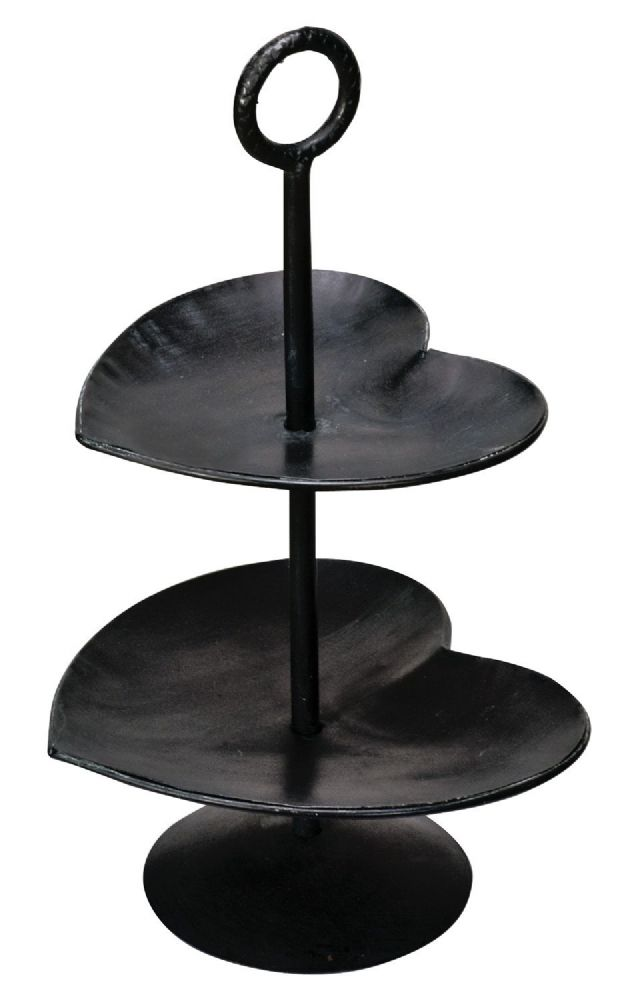 Metal Two Hearts 2 Tier Cake Stand - Black